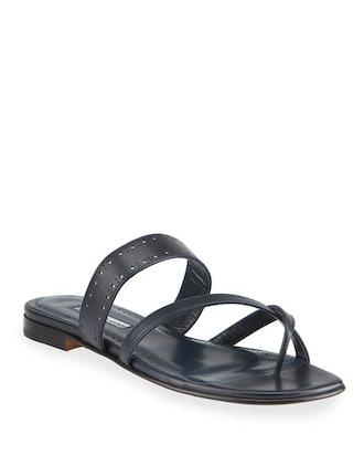 Susa Perforated Crisscross-Toe Flat Sandals