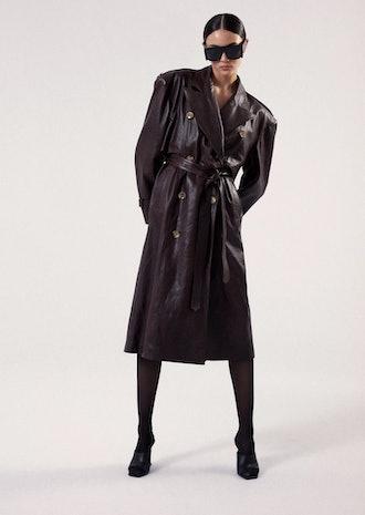 Leather Coat In Bordeux