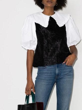 Jacquard-Overlay Puff-Sleeve Blouse