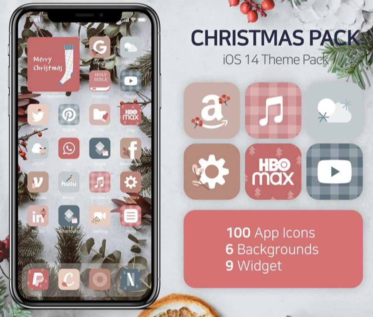 Cute Aesthetic Pastel Holiday iOS 14 Home Screen Design Pack