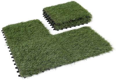 GOLDEN MOON Interlocking Artificial Grass Tiles, 1 By 1 Feet (6-Pack)
