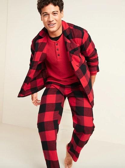 Plaid Flannel Pajama Set for Men