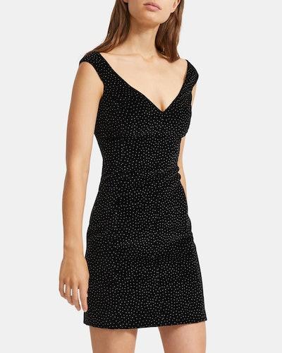 Off The Shoulder Dress in Dotted Velvet