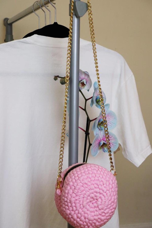 Pink Circle Crochet Purse