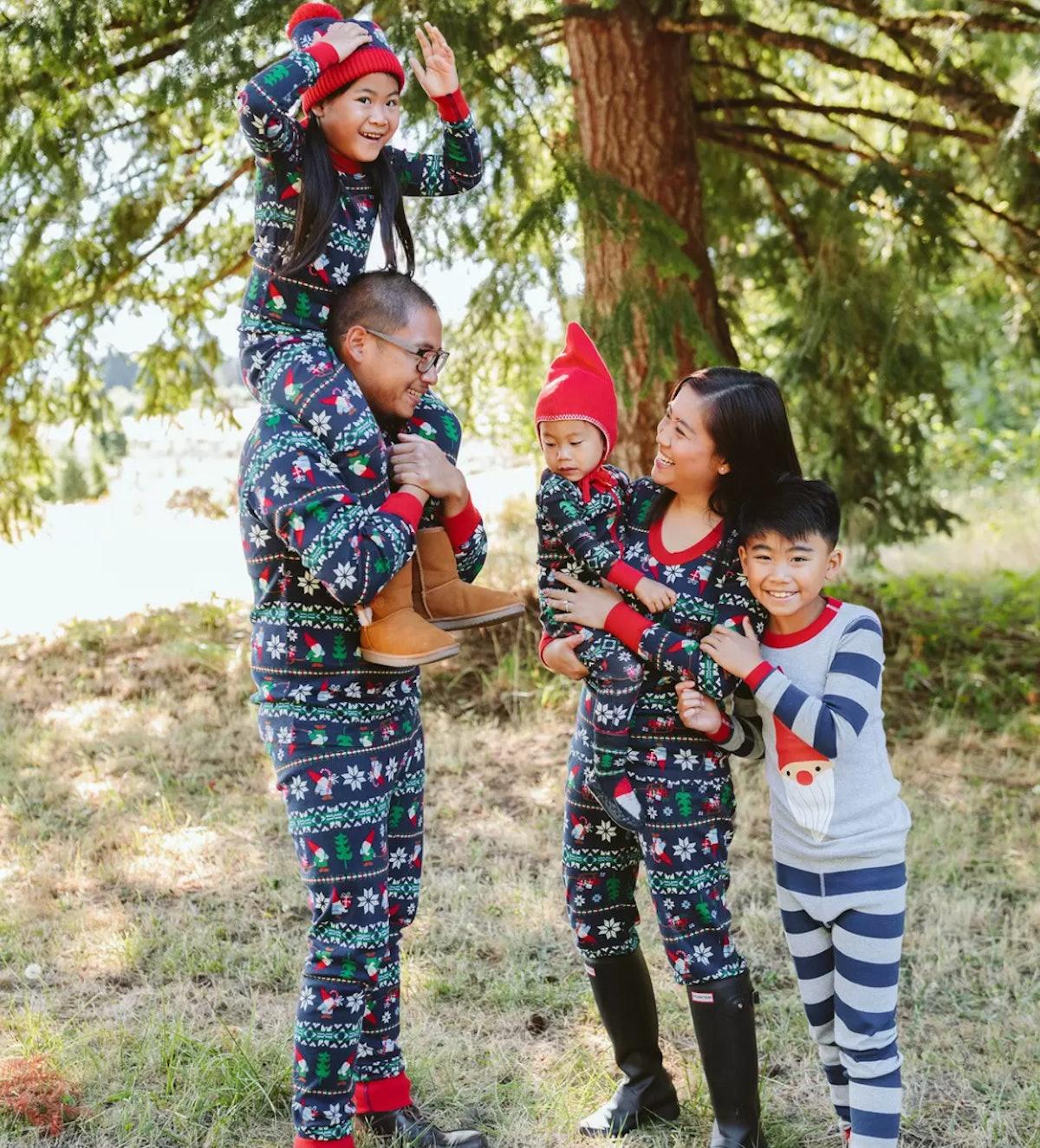 Gnome Sweet Gnome Matching Family Pajamas - Women's Button Down Cotton Pajamas