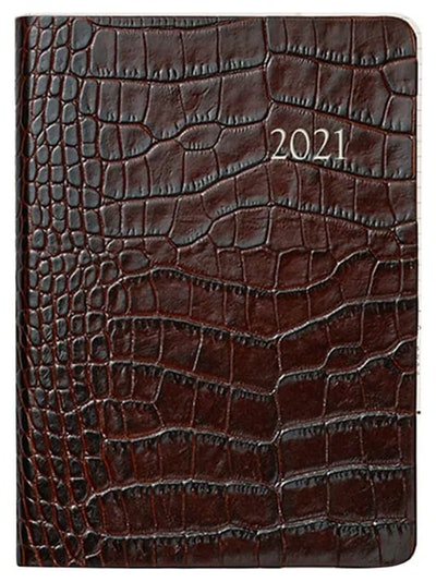 Month & Week At A View Crocodile-Embossed Leather 2021 Notebook