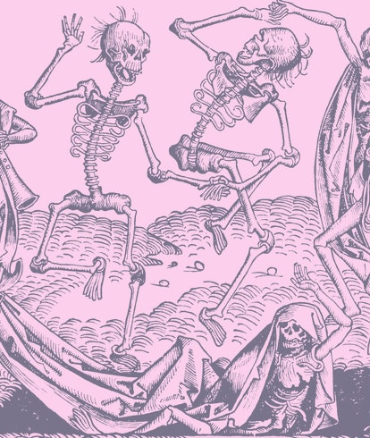A black plague picture of skeleton's dancing in reference to Artisan Dice's d20 mdade from human bones.