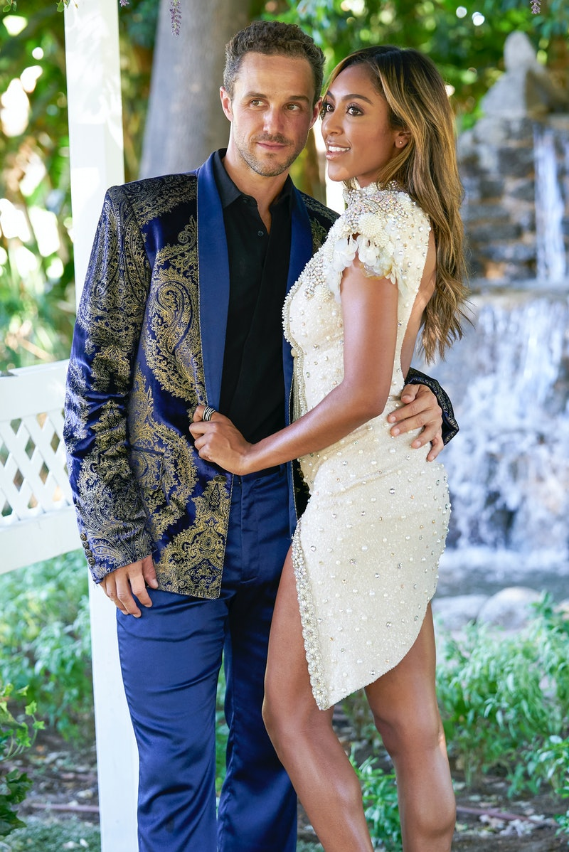 Bachelorette Tayshia Adams and Zac Clark pose for a wedding photoshoot on their one-on-one date via ...