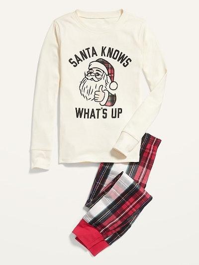 Gender-Neutral Snug-Fit Graphic Pajama Set for Kids