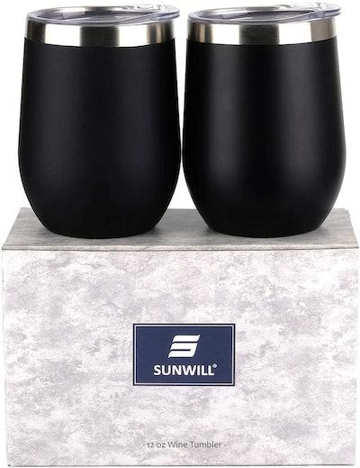 SUNWILL Vacuum-Insulated Wine Tumbler (2-Pack)
