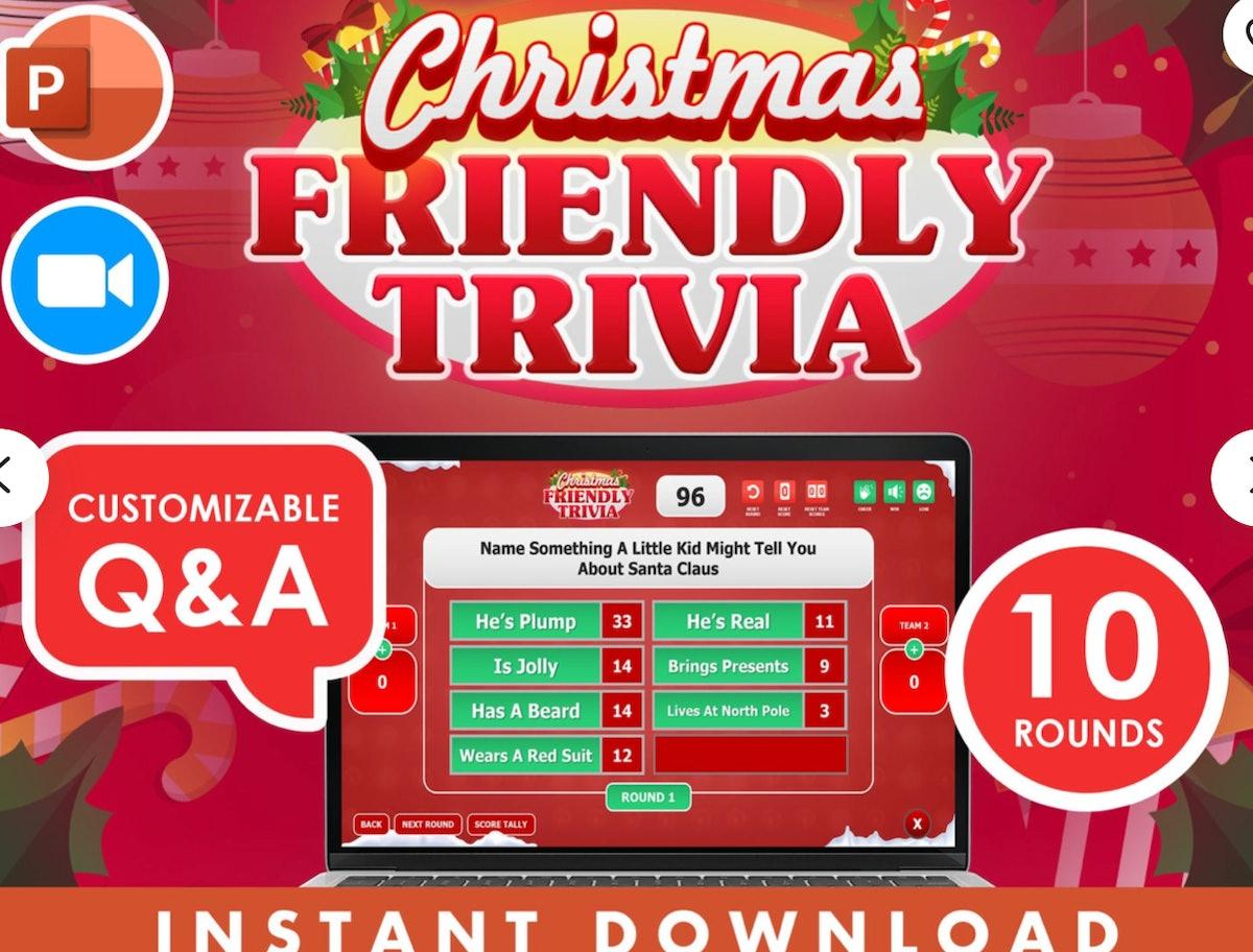 Christmas Holiday Friendly Trivia Scoreboard — RetroGamesByProvo
