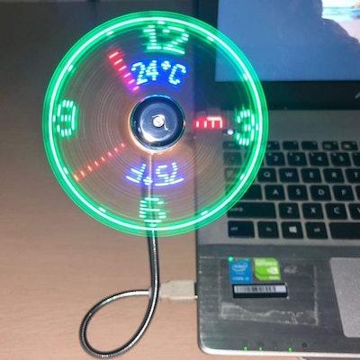 Breis USB LED Clock Fan