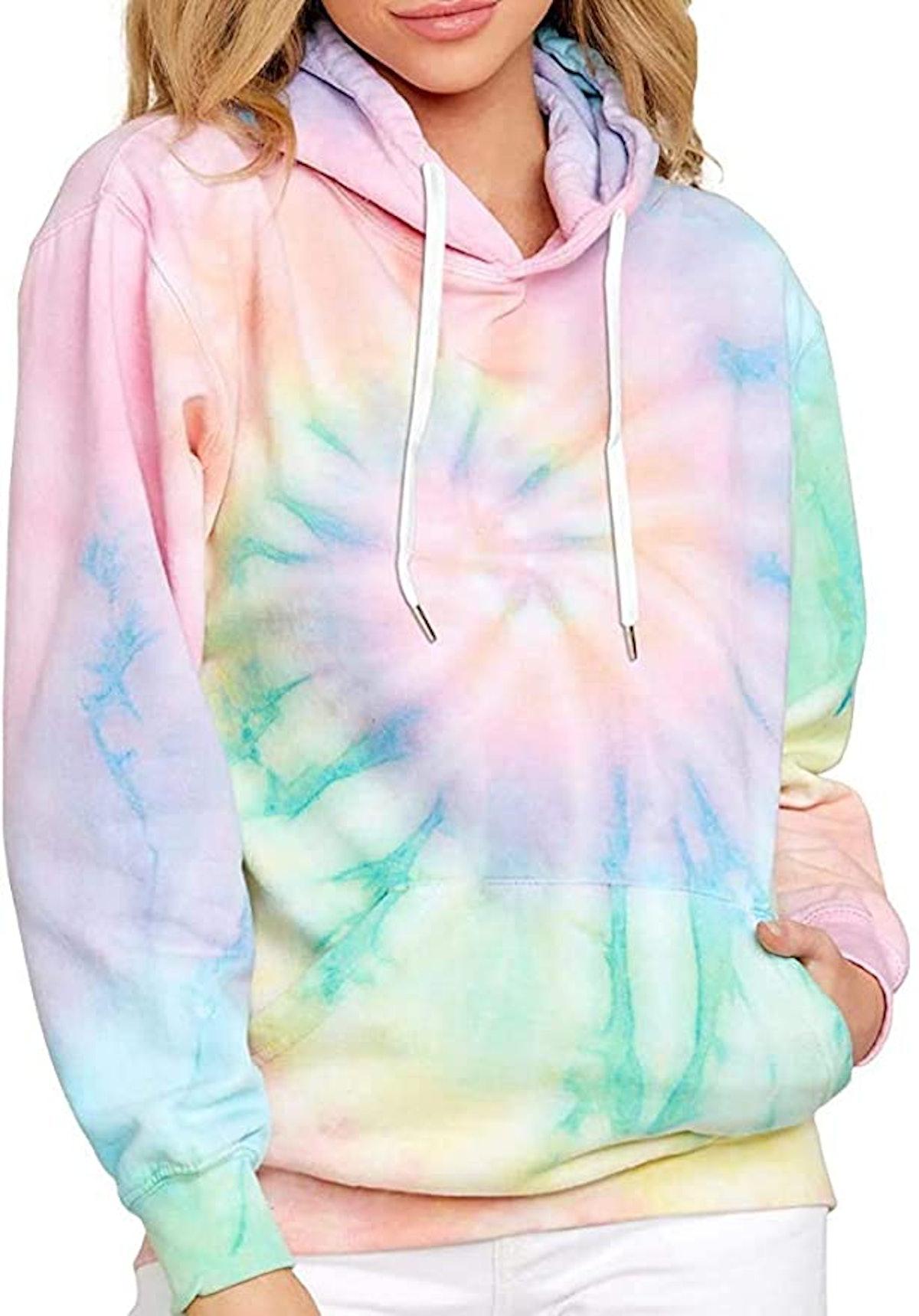 EFAN Women's Hoodies Tops Tie Dye Printed Sweatshirt Long Sleeve Pullover Loose Drawstring Hooded with Pocket