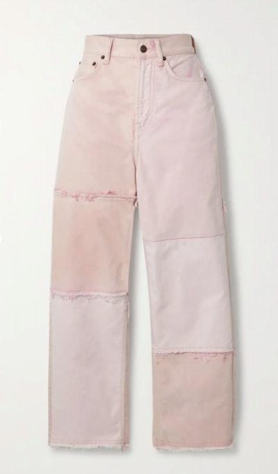 + NET SUSTAIN 1993 frayed patchwork organic high-rise straight-leg jeans