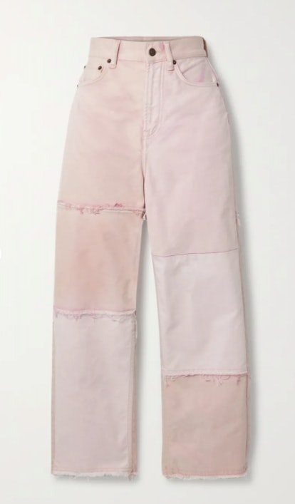 + NET SUSTAIN 1993 frayed patchwork organic high-rise straight-leg jeans