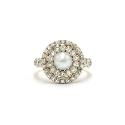 Edwardian Pearl and Diamond Cluster Ring