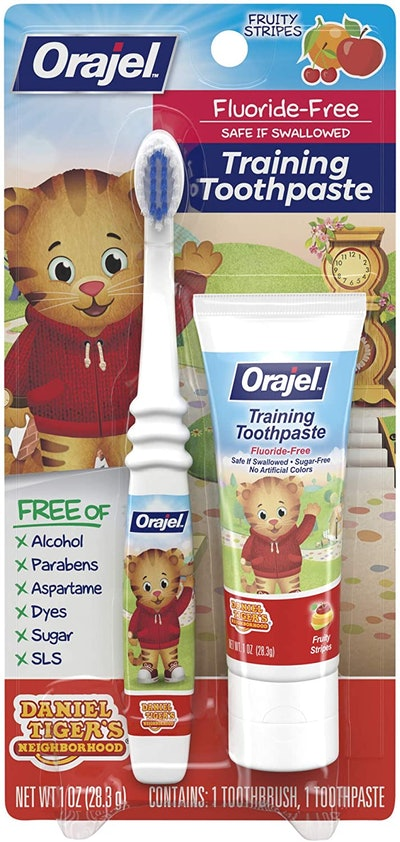Orajel Daniel Tiger's Neighborhood Fluoride-Free Training Toothpaste & Toothbrush Combo Pack
