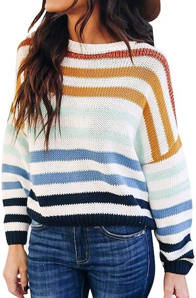 ZESICA Long Sleeve Crew Neck Sweater