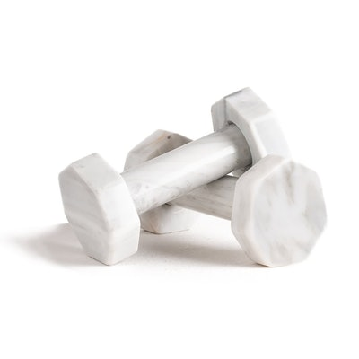White Marble Gym Dumbbells