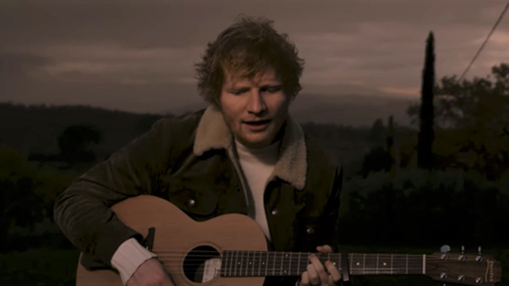 "A screenshot from Ed Sheeran's ""Afterglow"" performance video."