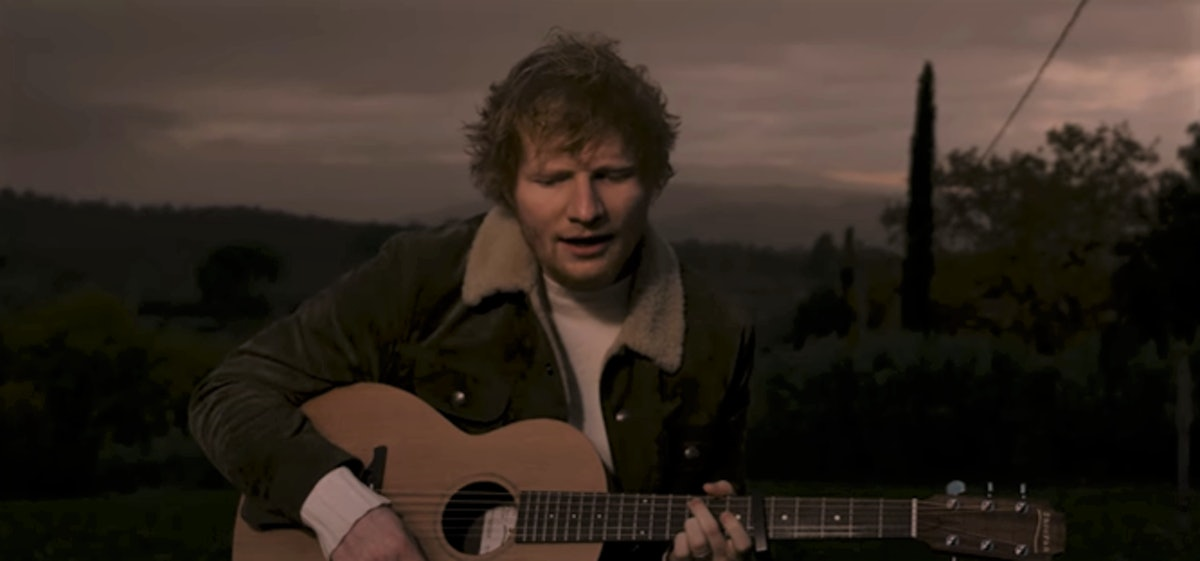 "A screenshot from Ed Sheeran's ""Afterglow"" performance video."