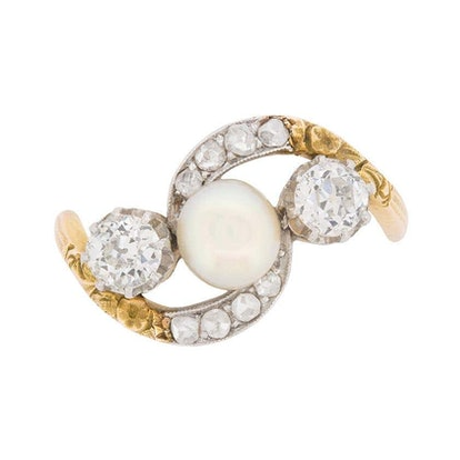 Victorian Diamond and Pearl Crossover Ring with Set Shoulders