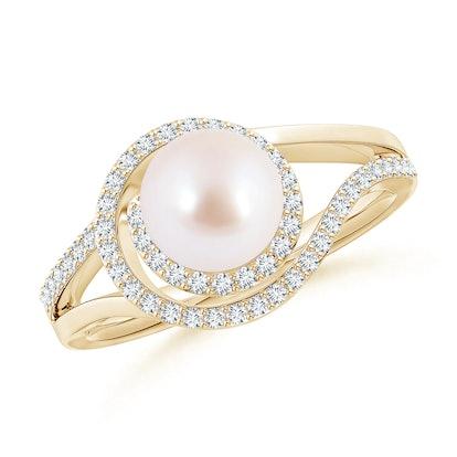 Japanese Akoya Pearl Spiral Halo Ring with Diamonds