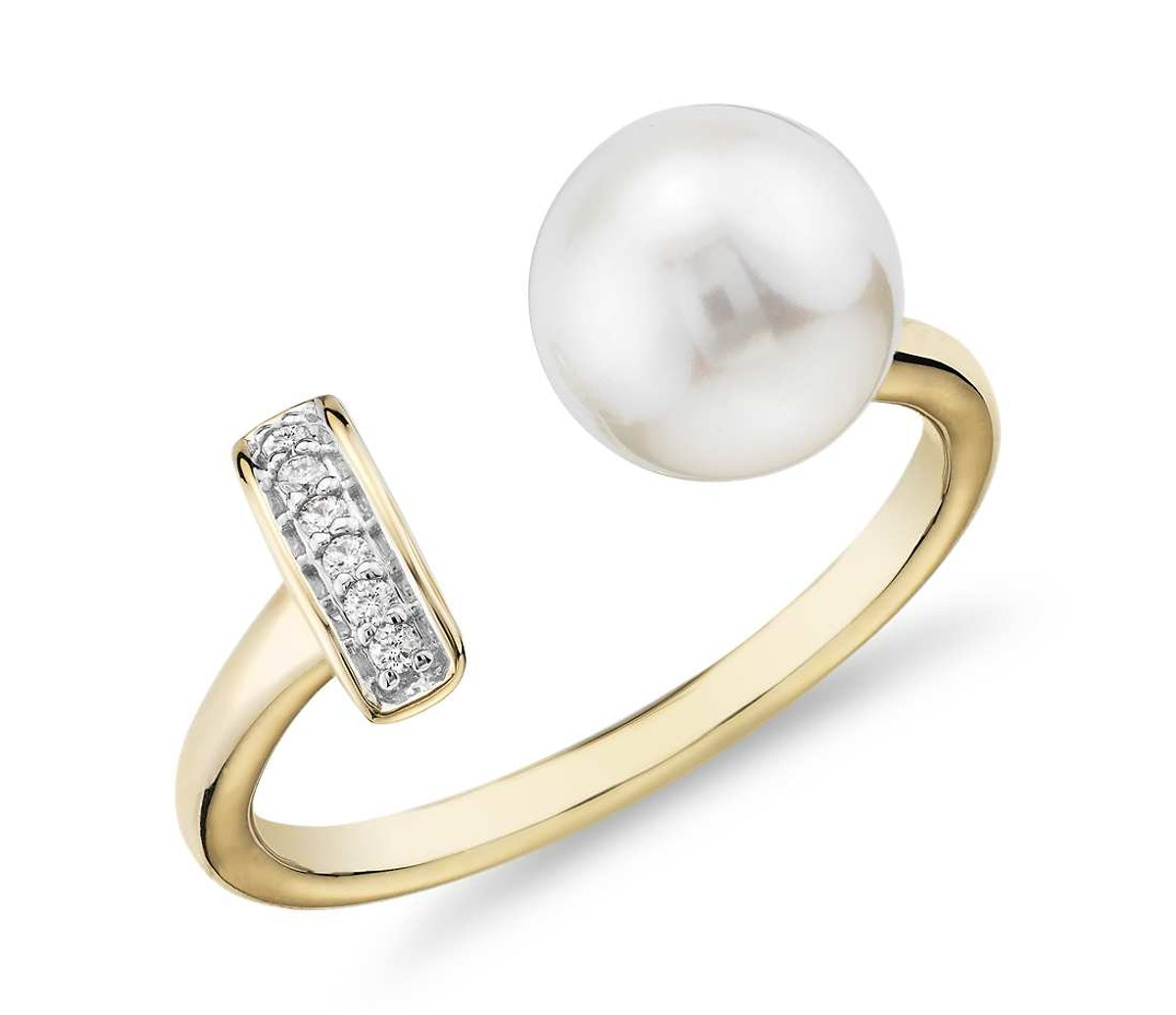 Freshwater Cultured Pearl and Diamond Bar Fashion Ring