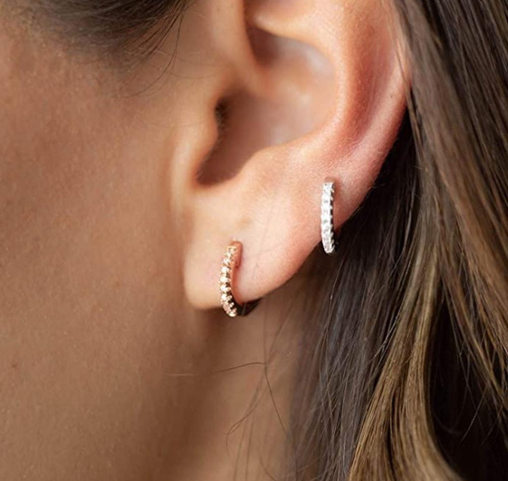 PAVOI Cubic Zirconia 14K Gold Cuff Earrings