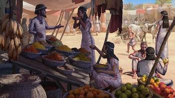 market scene in ancient levant
