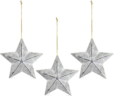 AuldHome Rustic Galvanized Star Ornaments