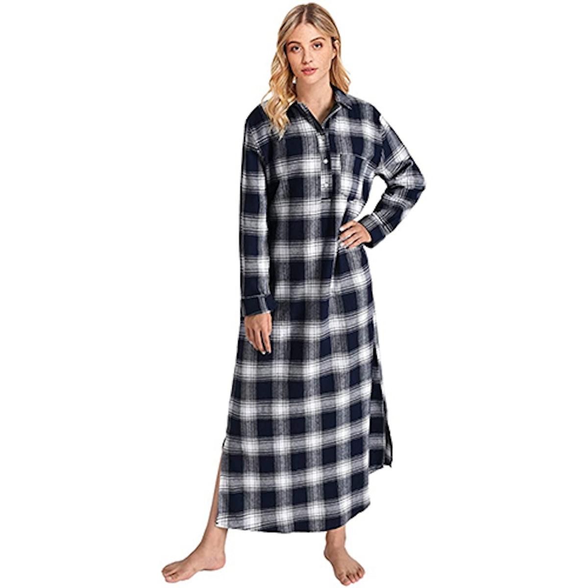 Latuza Plaid Flannel Nightgown