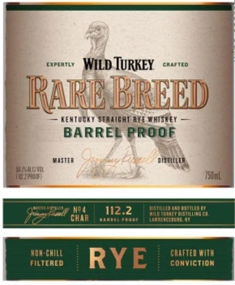 Wild Turkey Kentucky Straight Rye Whiskey Barrel Proof Rare Breed