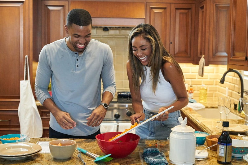 Ivan Hall and Tayshia Adams cook together during his 'Bachelorette' hometown date  via ABC Press Sit...