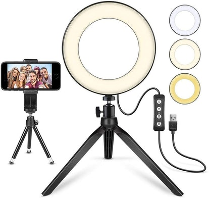 "LED Ring Light 6"" with Tripod Stand for YouTube Video and Makeup"