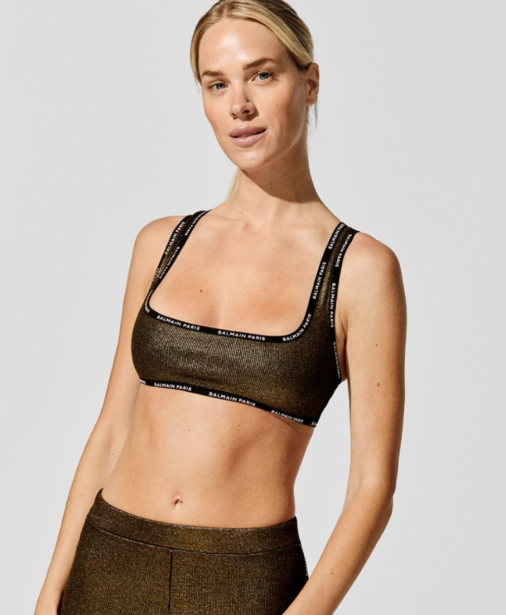 Laminated Ribbed Cotton Top Bra