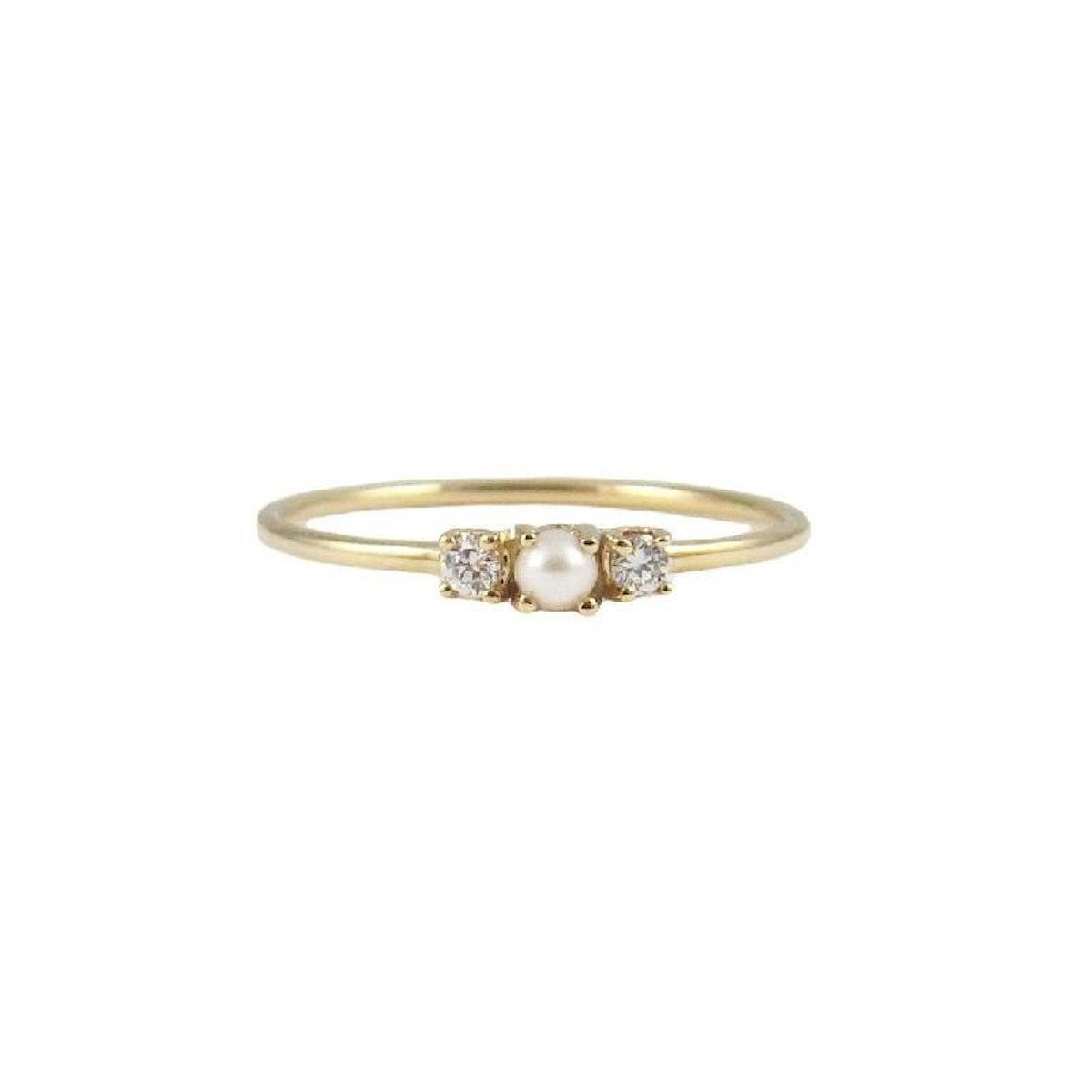 Pearl 2 Diamond Ring