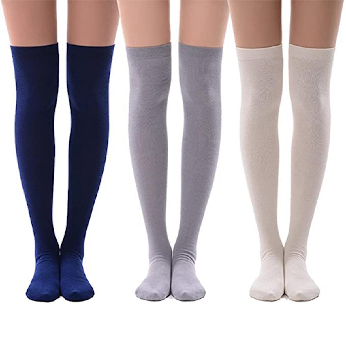 MEIKAN Cotton Thigh High Socks (3 Pack)