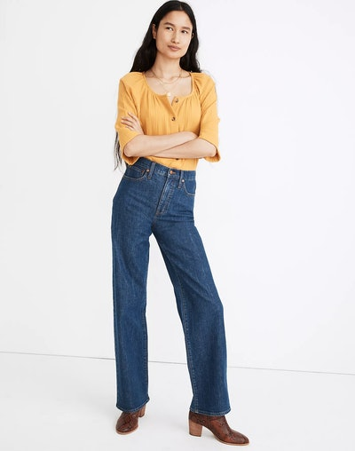 Slim Wide-Leg Full-Length Jeans in Birley Wash