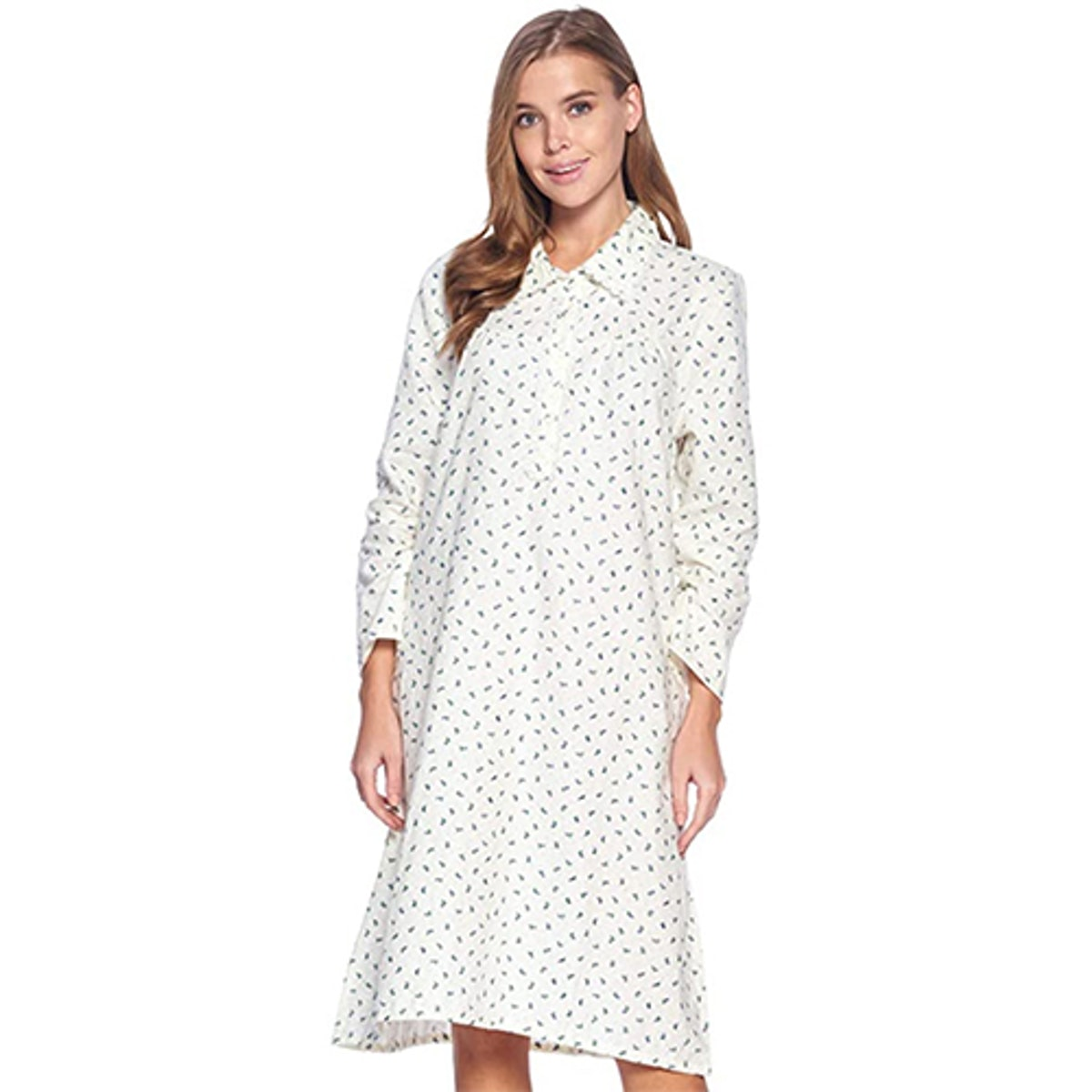 Casual Nights Flannel Floral Long Sleeve Nightgown