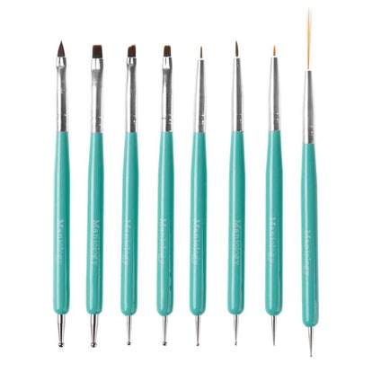 8pc Dual Sided Nail Art Brush and Dotting Tool Set - Cute Turquoise