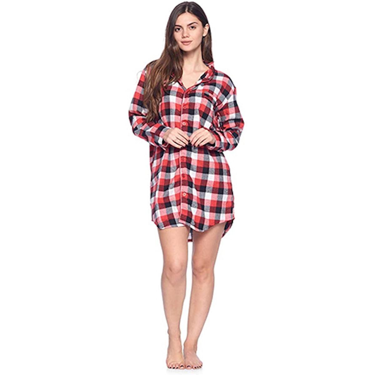 Ashford & Brooks Flannel Plaid Sleep Shirt