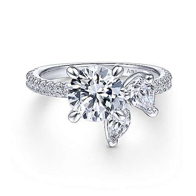 18K White Gold Round Three Stone Diamond Engagement Ring