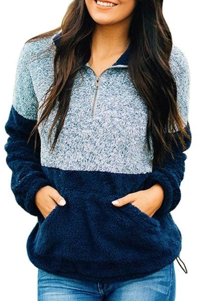 MEROKEETY Sherpa Pile Pullover