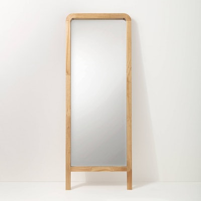 "71"" Standing Wood Framed Mirror Natural"