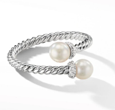 Petite Solari Bypass Ring in 18K White Gold with Cultured Pearl and Diamonds
