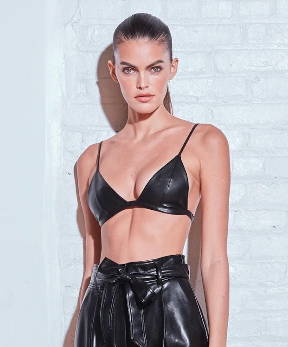 Vegan Leather Triangle Bra