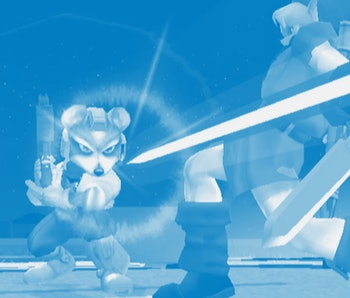 A screenshot of Fox and Link in Super Smash Bros. Melee.