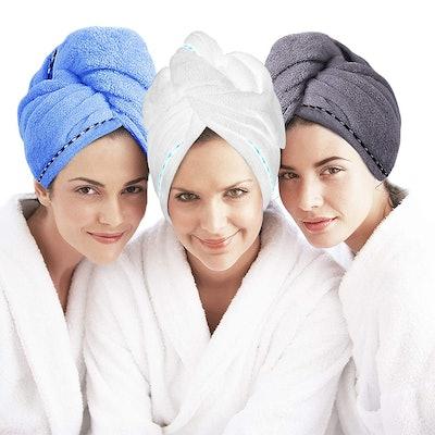 Laluztop Microfiber Hair Towel (3-Pack)