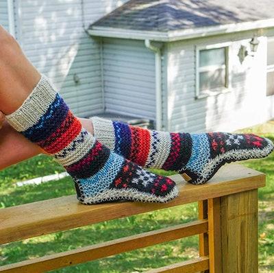 Tibetan Socks Hand Knit Wool Slipper Socks